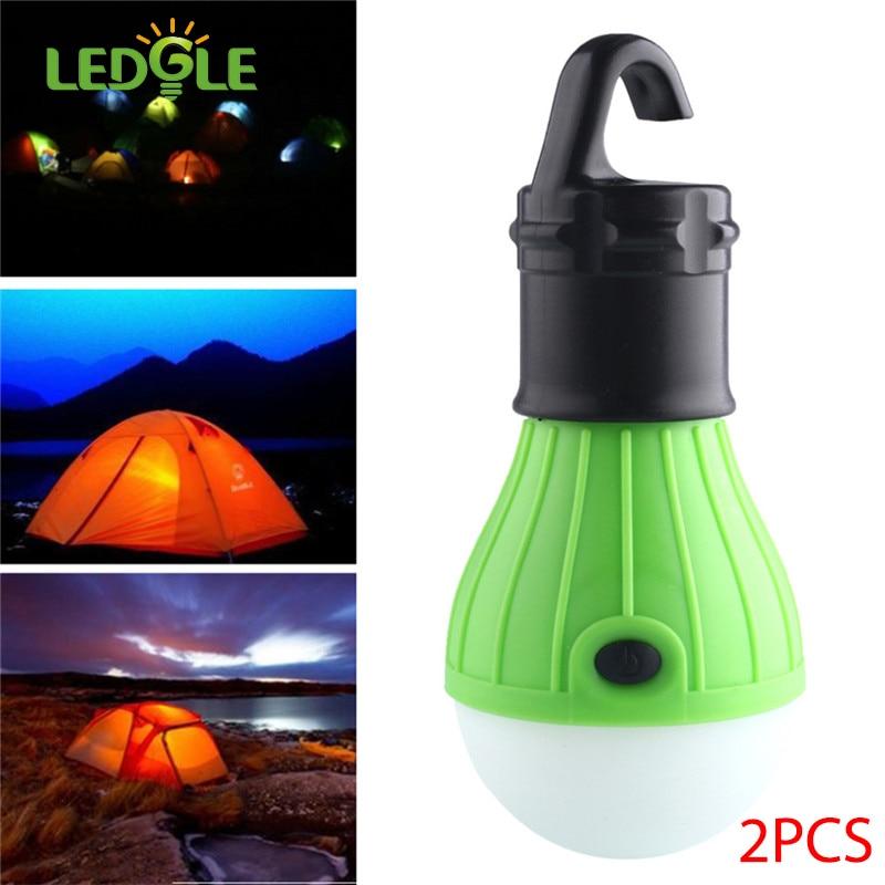 ledgle 2pcs 1w 3brightness modes battery powered soft light outdoor hanging led camping tent light bulb fishing lantern lamp