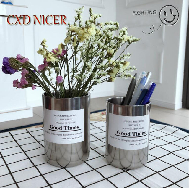 Multifunctional Stainless Steel Pen Holder Student Office Ins Nordic Style Metal Inserted Vase Makeup Pencil