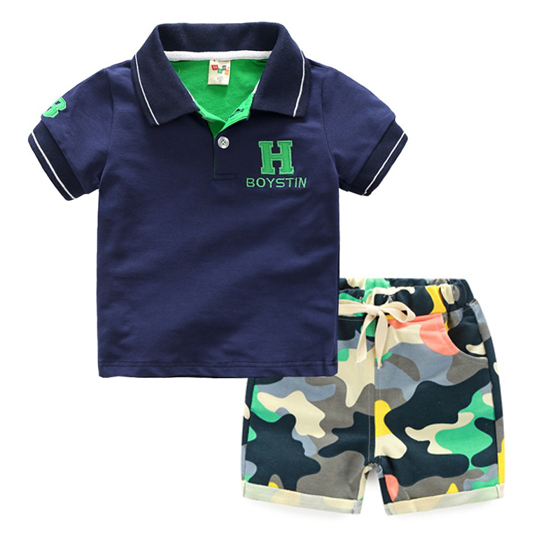 Encontrar Boys Polo + Camouflage Shorts Set Summer Shorts Cotton Letter Suit for Children Toddler Kids T-shirt Suit 24M-8T,DC202