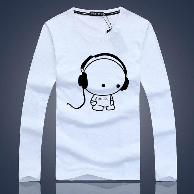 Headphone T Shirts 2015 Long Sleeve Youth Cartoon Slim