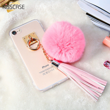 KISSCASE Case For iPhone 6 6S iPhone 6 S 7 7 Plus 5S Rabbit Fur Ball Tassels Girly Woman Transparent Soft TPU Cover For iphone6(China)
