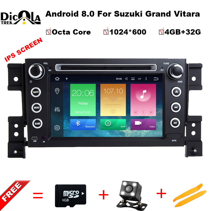 все цены на 2 din android 8.0 car DVD player for Suzuki grand vitara multimedia car radio stereo gps with steering wheel camera DVR Map онлайн