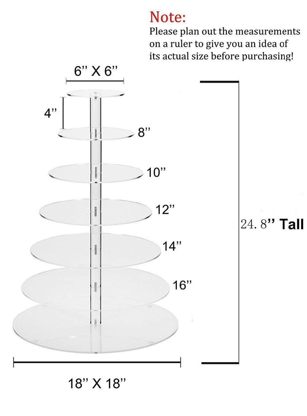 Акриловая подставка для торта для свадебной вечеринки/индивидуальный современный дизайн 7 ярусная акриловая подставка для торта, акрилова... - 4
