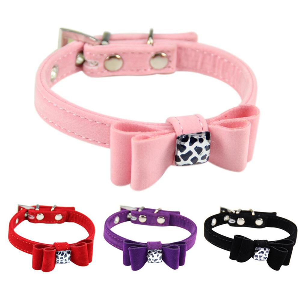 Adjustable Pet Suit Traction Belt Flocking Material Bow Style Dog and Puppy Cats Pets and Other Small Animals Collar 2018
