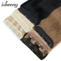 """Isheeny 14 """"18"""" 22 """"Клип в одном бразильские волосы на заколках зажимы Tic Tac 5 зажимы волосы remy кусок прямо клип пряди человеческих волос для"""