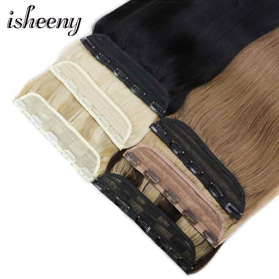 """Isheeny 14"""" 18"""" 22"""" Clip In One Piece Brazilian Hair Clips Tic Tac 5 clips Remy Hair piece Straight Clip Human Hair Extensions"""
