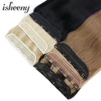 Isheeny 14 18 22 Clip In One Piece Brazilian Hair Clips Tic Tac 5 clips Remy Hair piece Straight Clip Human Hair Extensions