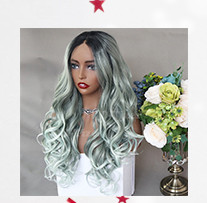 QD-Tizer 180% Density Black Loose Hair Synthetic Lace Wigs Long Loose Curly Synthetic Lace Front Wigs for Fashion Women012