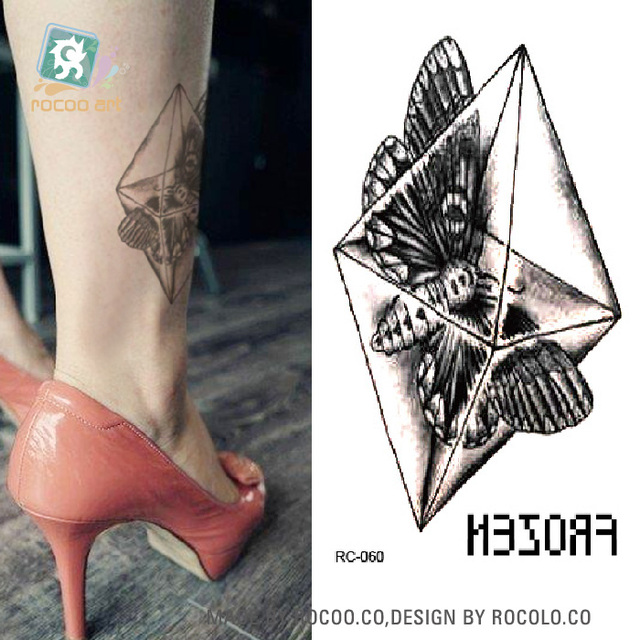 RC-060 Fashion Temporary Tattoo Stickers Beauty Body Art Butterfly In Crystal Fake Flash Taty Tattoo Water Transfer Tatuaje