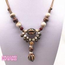 Colar étnico com pingente artesanal, joias tradicionais de cera com tela, colar de cerâmica, pingente longo de contas de cerâmica #12