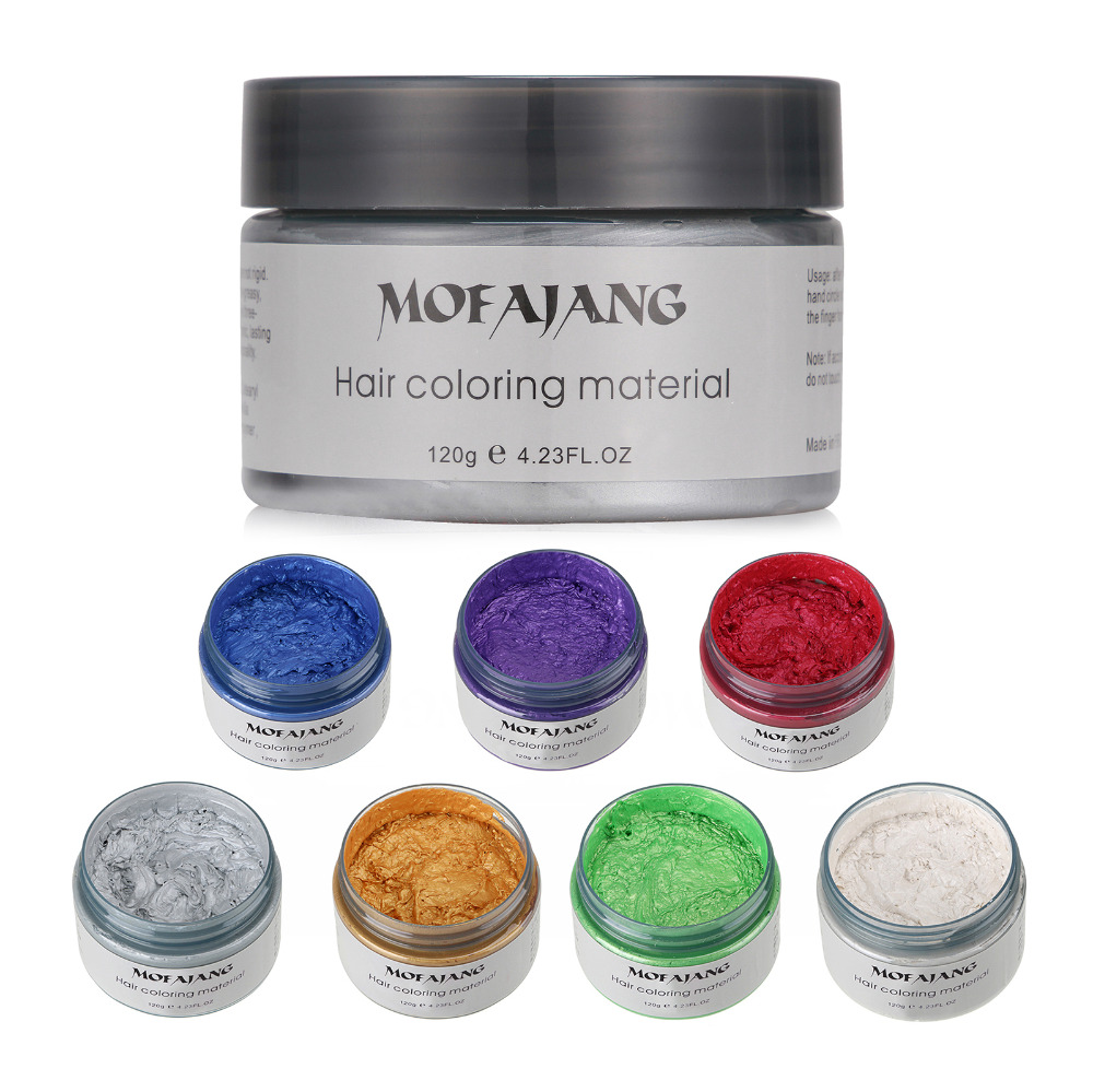 MOFAJANG Unisex DIY Color de cabello Cera Crema para teñir con barro Modelado temporal 7 colores disponibles