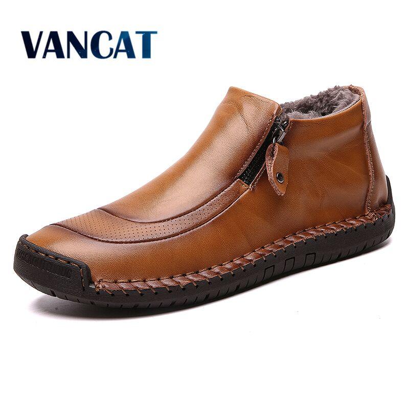 Fashion Men Boots High Quality Split Leather Ankle Snow Boots Warm Fur Men's Shoes Plush Winter Autumn Driving Shoes Big Size 48