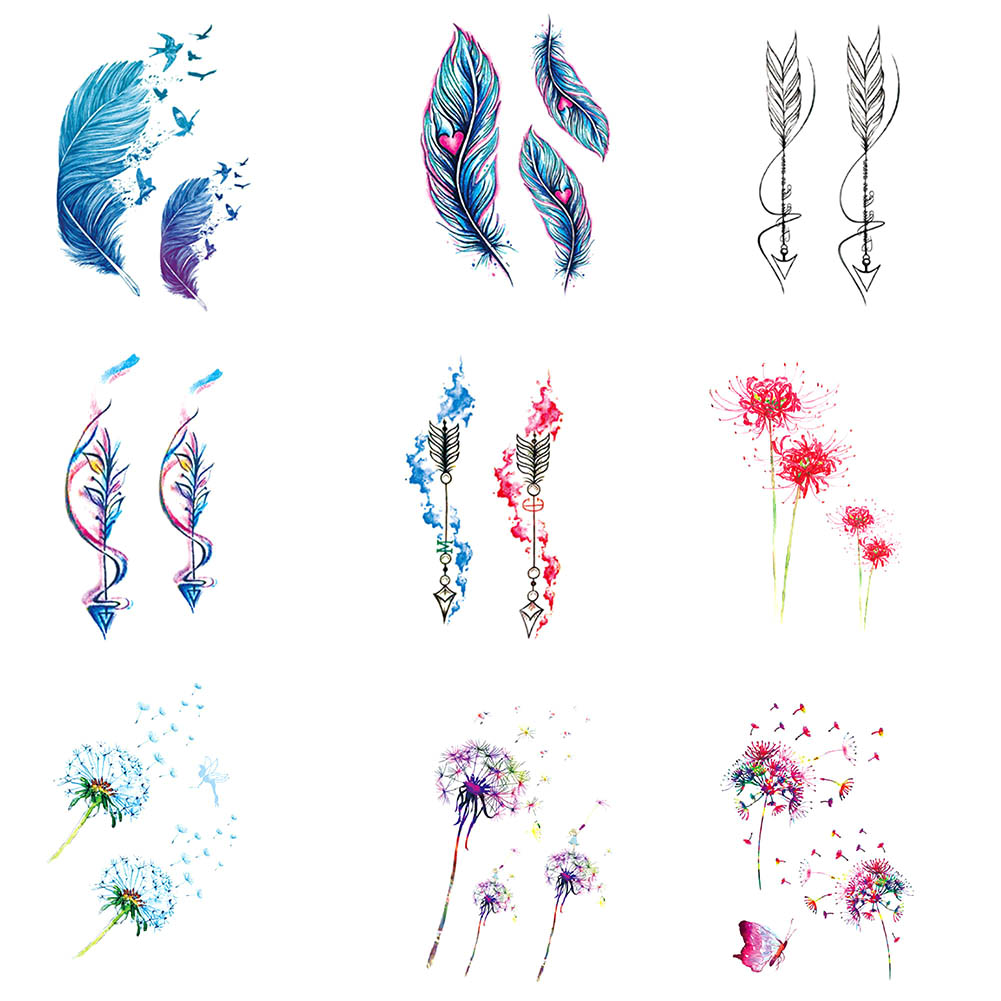 1 Pcs Colorful Flower Dandelion Creative Women Body Art Temporary