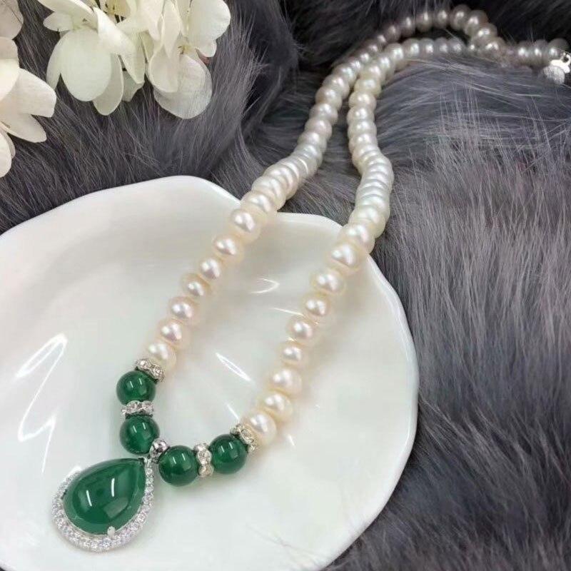 RADHORSE 925 pendentif en argent colliers pour femmes bijoux fins colliers de perles d'eau douce calcédoine pendentif mère cadeau