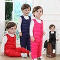 2016 Зима Осень Теплые Дети Утка вниз брюки комбинезоны Мальчики Девочки толстые брюки детей нагрудник Детская Одежда 3 цвета