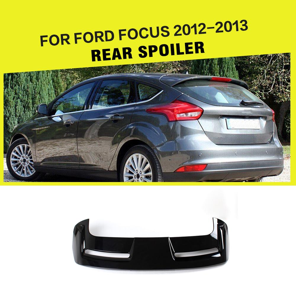 Abs black painted car boot lip spoiler for ford focus hatchback 12 13 china