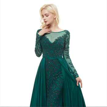 Abiye Gece Elbisesi Green Long Sleeve Evening Dresses A Line Handly Sew Beads Robe De Soiree Formal Dress Women Elegant