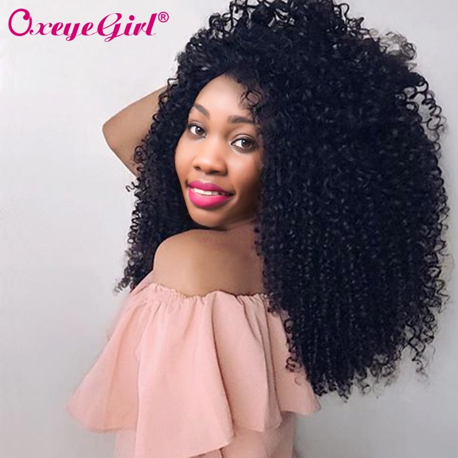 Afro Kinky garbanotais plaukais žmogaus plaukų rinkiniai Brazilijos plaukų pynimo rinkiniai 1/3/4 gab Remy Plaukų rinkiniai Oxeye mergina