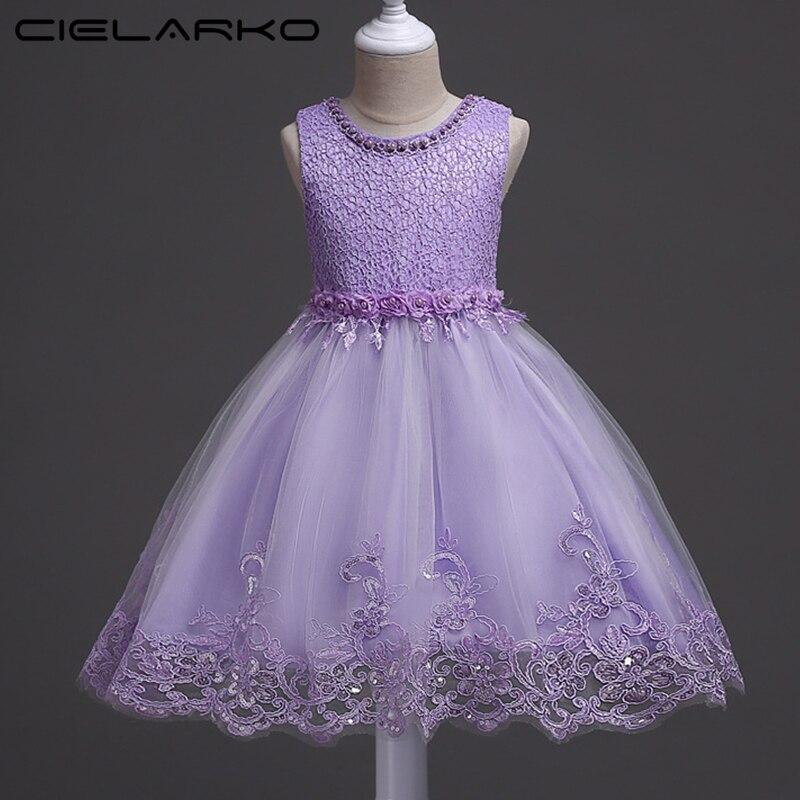 Cielarko Niñas vestido rosa flor bebé boda Vestidos niños cumpleaños ...