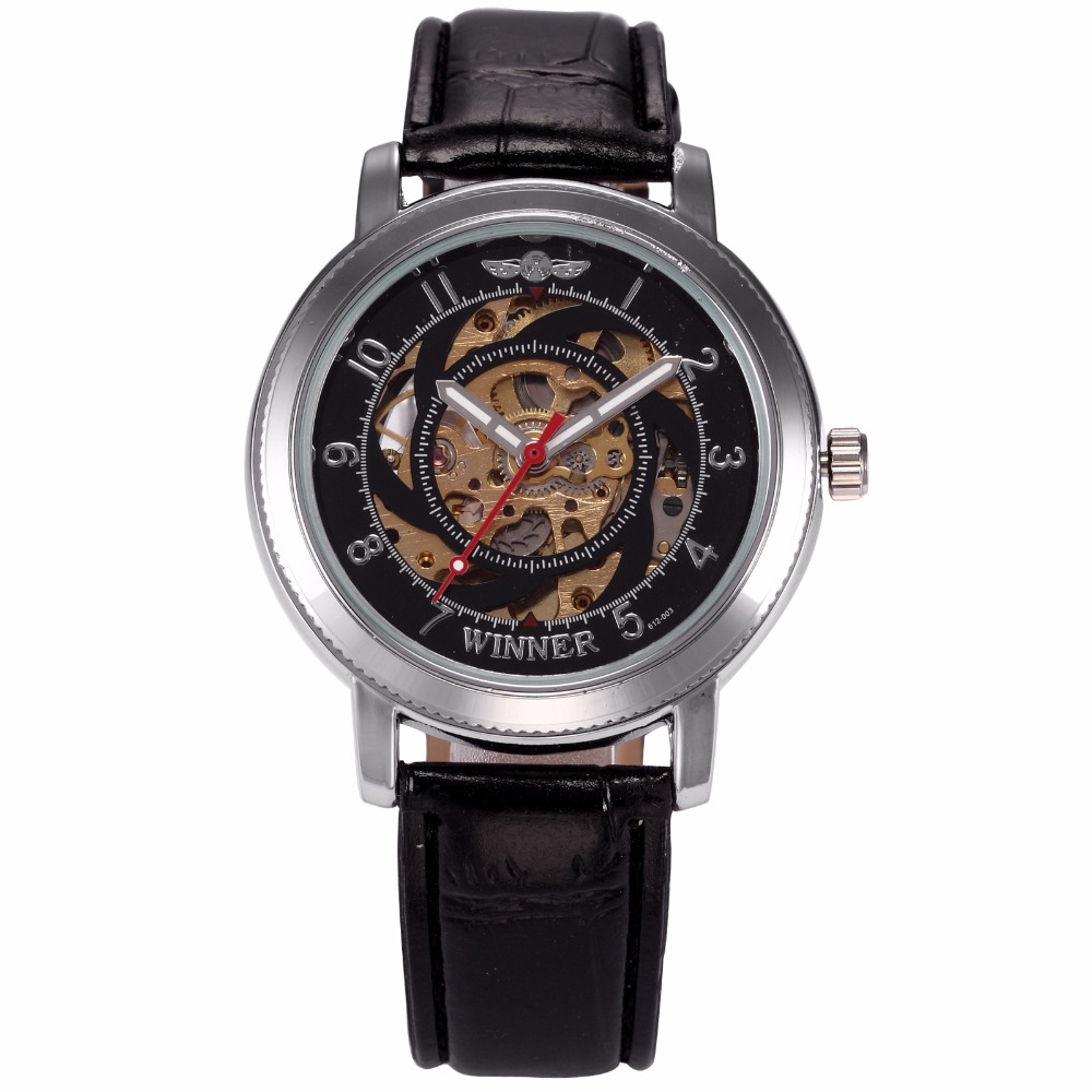 цены  WINNER Brand Classic Mens Automatic Skeleton Black Silver Steampunk Leather Strap Mechanical Watches Relojes Hombre Gift /PMW278