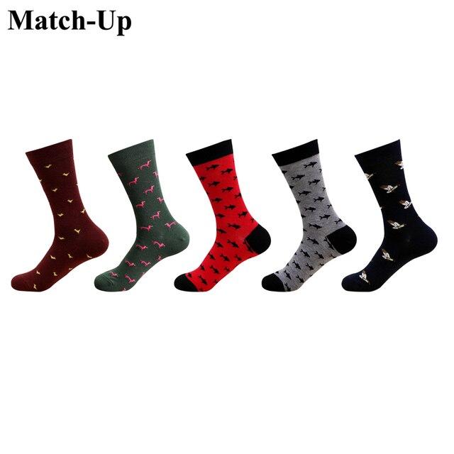 Match Up calcetines de algodón para hombre, de talla grande, de compresión de calidad, con patrón de serie de animales, calcetines de negocios para hombre (5 par/lote) US 7,5 12