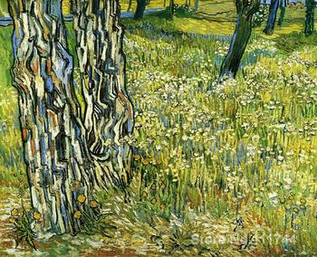 Hand painted art on canvas Tree Trunks in the Grass Vincent Van Gogh painting for sale High quality