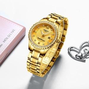 Image 3 - NIBOSI Couple Watch Women Men Luxury Crystal Quartz Wrist Watches Lovers Clock Week Date Gold Blue Montre Femme Relogio Feminino