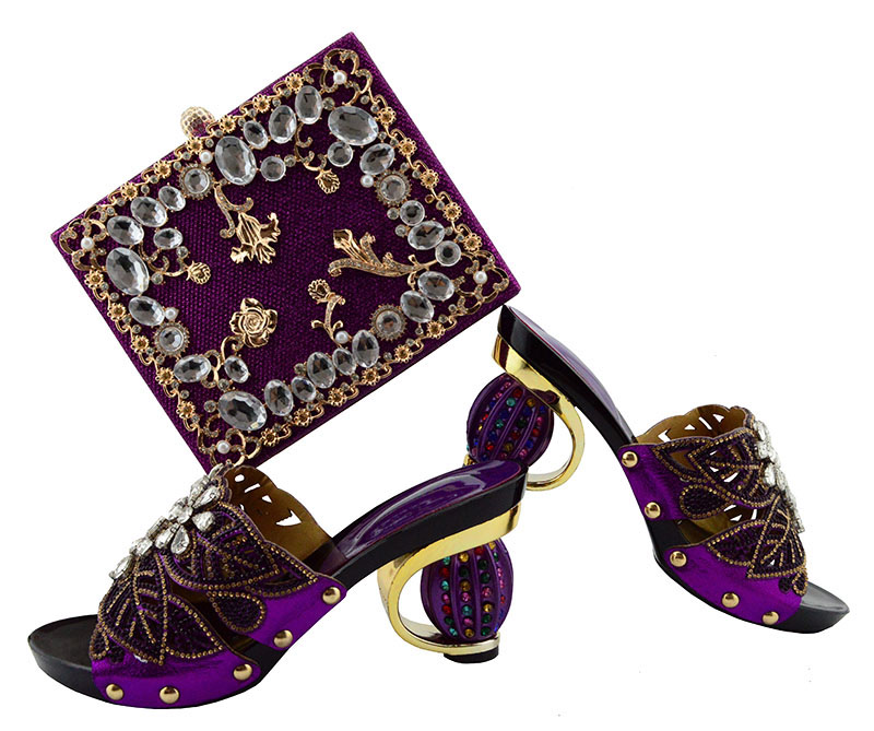 Purple fashion italian shoes and bag set heel 3.3 inches with free shipping for african aso ebi party shoes and bag set SB8129-7 free shipping nylon pure black color soft backpacks storage bag for shoes and clothing with drawstring closure zz225