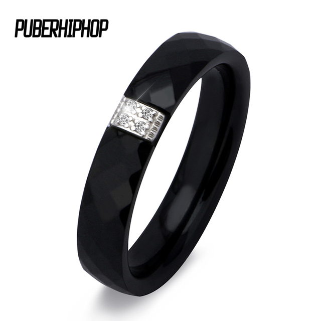 Unique Rings Women 3mm Black White Ceramic Ring For Women India Stone Crystal Co