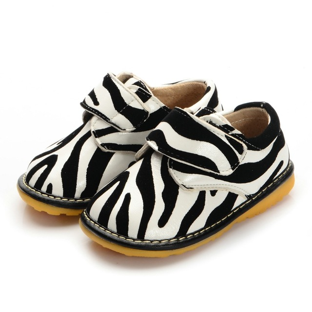 1-3Y Fashion Zebra Printing Baby Shoes Boy Girl Squeaky Shoes Soft Kids Toddler Autumn Shoes Free Shipping