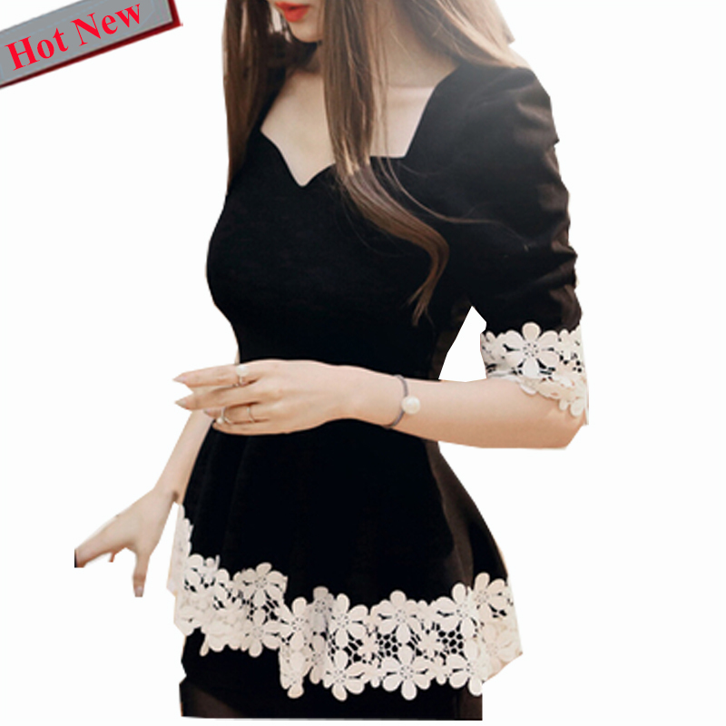Peplum Top Black Cute Sweet   Blouses     Shirt   Autumn Spring Long Sleeve V Neck Slim Sexy Hollow Out Crochet Floral White Lace   Blouse