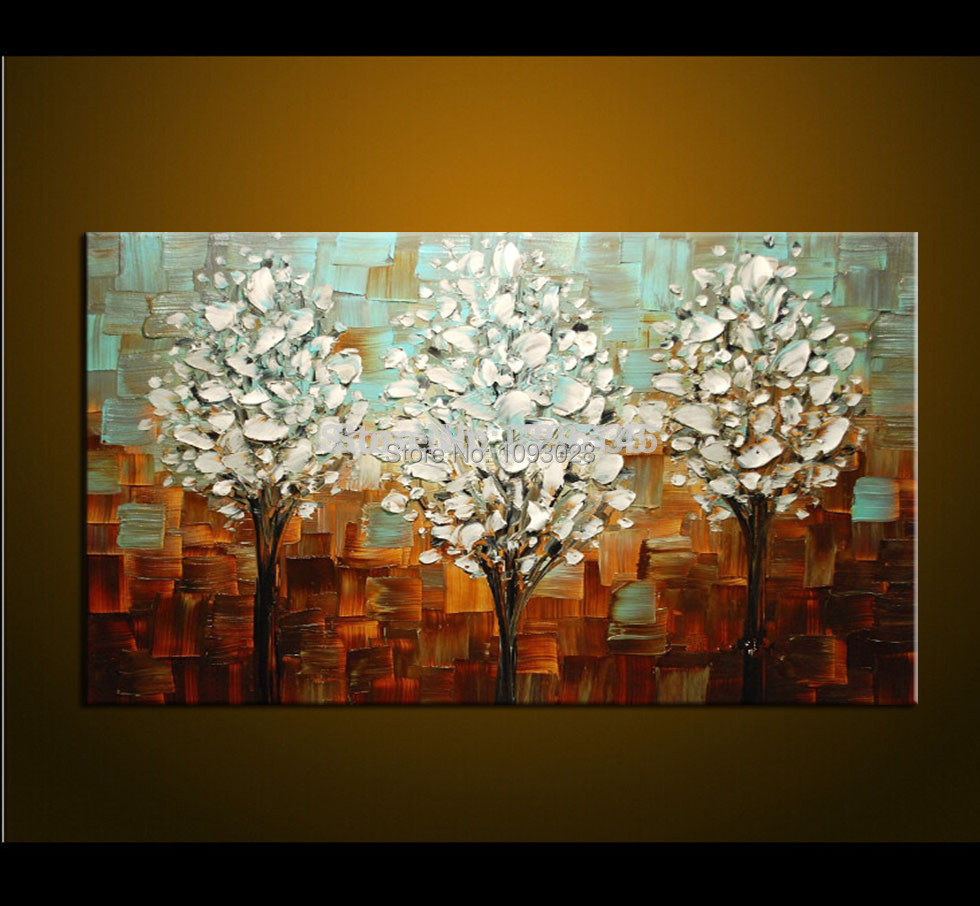 Living room oil paintings - Hand Painted Palette Knife Oil Painting Thick Paint White Tree Painting Modern Home Art Canvas Wall Living Room Decor No Frame