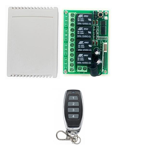 DC 12 V 4CH Radio Controller RF Wireless Push Remote Control Switch Transmitter Receiver ...