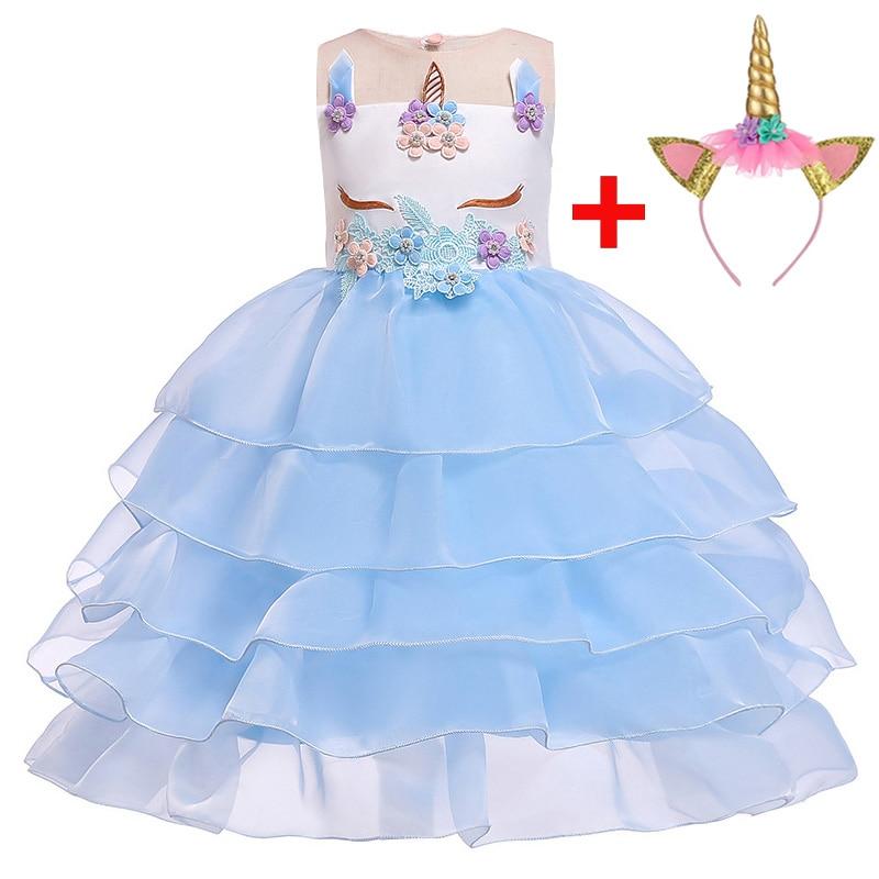 flower     girl     dresses   unicorn   dress   children clothing   girl   princess wedding first communion   dress   baby tutu costume L5066