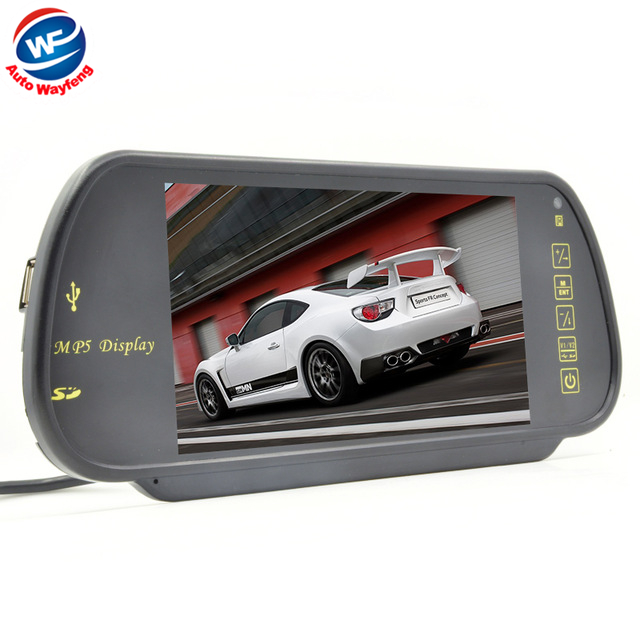 Free Shippinrg Car HD Monitor 7 Color TFT LCD Car Rearview Mirror Monitor SD USB MP5