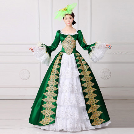 green white ruffled golden embroidery ball gown cartoon vintage medieval dress Renaissance princess fairy costume Victoria dress-in Movie u0026 TV costumes from ...  sc 1 st  AliExpress.com & green white ruffled golden embroidery ball gown cartoon vintage ...