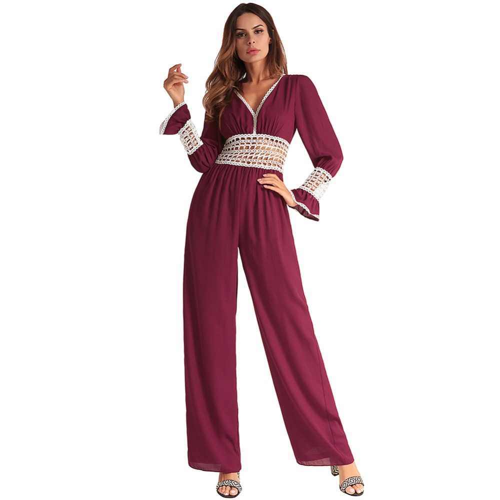 New Fashion Womens Long Style Jumpsuits Chiffon Hollow Out Sexy Rompers Straight Club Jumpersuits for Female Rompers 1316 ...