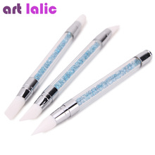 Artlalic 3 Pcs Two Ways Nail Art Pen Blue Rhinestones Design Carving Silicone Nail Brushes Manicure Tools Wholesale
