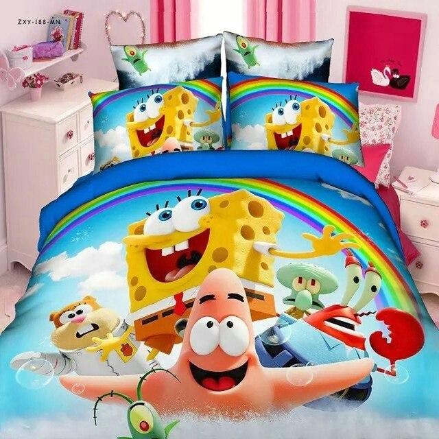Home Textile Marvellous Spongebob Bed Linen 2 3 Pieces Twin Single Size Duvet