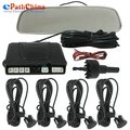 Hot Free Shipping! Multifunctional 12V 4 x Car Parking Sensor System Reverse Backup Radar Kit with LED Display Rear View Mirror,