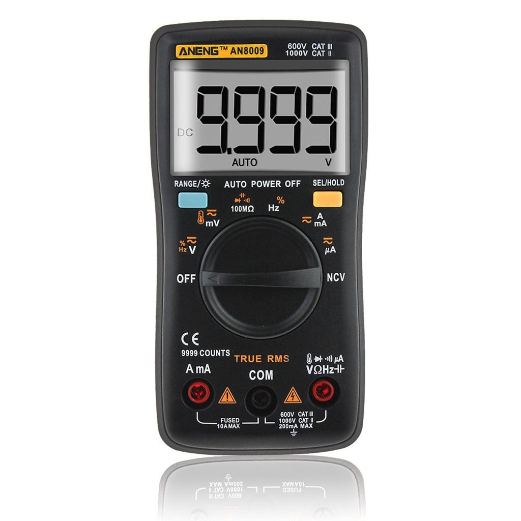 AN8009 de verdadero valor eficaz (RMS rango automático Digital multímetro NCV ohmímetro tensión amperímetro negro