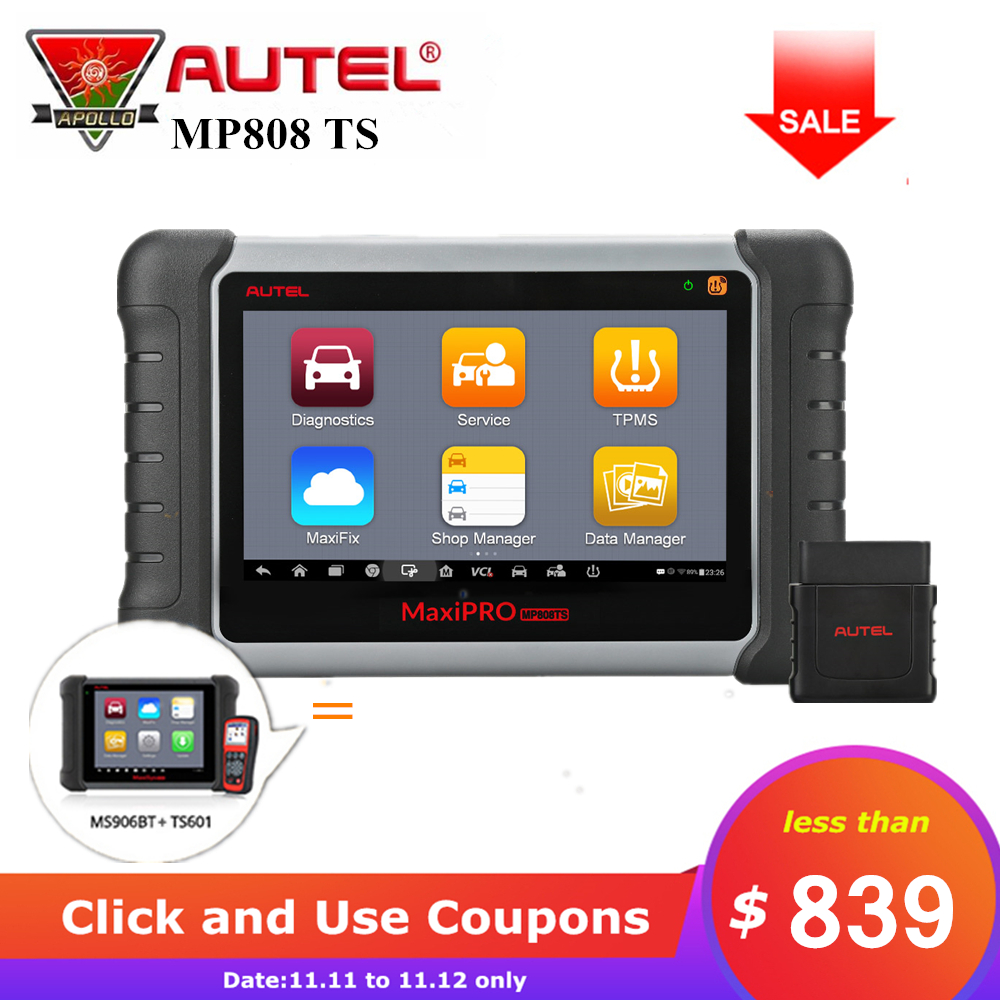 Autel MaxiPro MP808TS Full System Car Scanner Auto OBD2 Diagnostic Tool Support ABS SRS EPB TPMS Service Same as DS808+TS601
