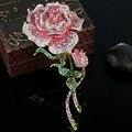 Очень Большой Роуз Цветок Брошь Для Женщин Лучшие Свадебные Ювелирные Изделия Colar Роза Розовый Кристалл Броши Bijuterias Мода Женщина Хиджаб Булавки