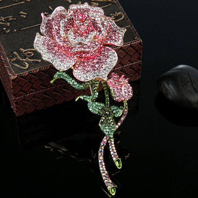e98e8223ba52e US $12.26 34% OFF|Blucome Big Size Rose Flower Brooch For Women Wedding  Jewelry Pink Crystal Brooches Bijuterias Fashion Women Enamel Hijab Pins-in  ...