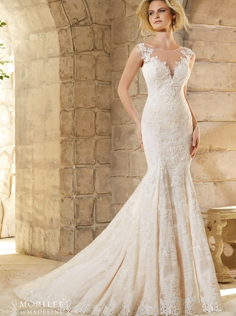 Alexzendra Cap Sleeves Mermaid Wedding Dress Illusion Back Lace Wedding Bridal Dresses Plus Size Custom Made