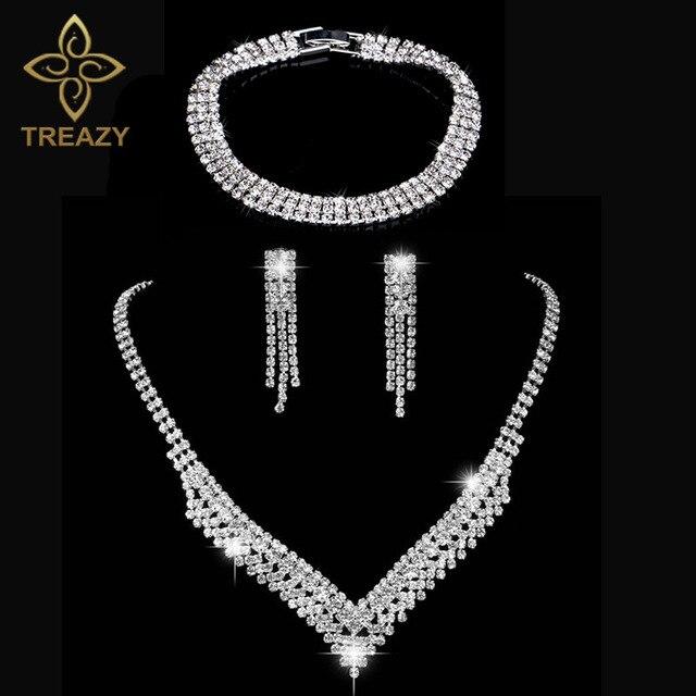 39b68d4b0f Elegant Tassels Bridal Jewelry Sets Silver Plated Crystal Fashion Wedding  Jewelry Set Necklace Earrings Bracelet Sets for Women
