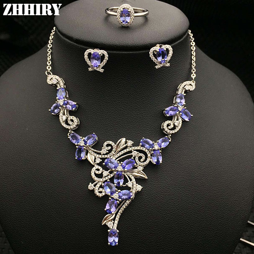 Natural Blue Tanzanite Gemstone Jewelry Sets Genuine Solid 925 Sterling Silver Women Ring Necklace Earring ZHHIRY недорого