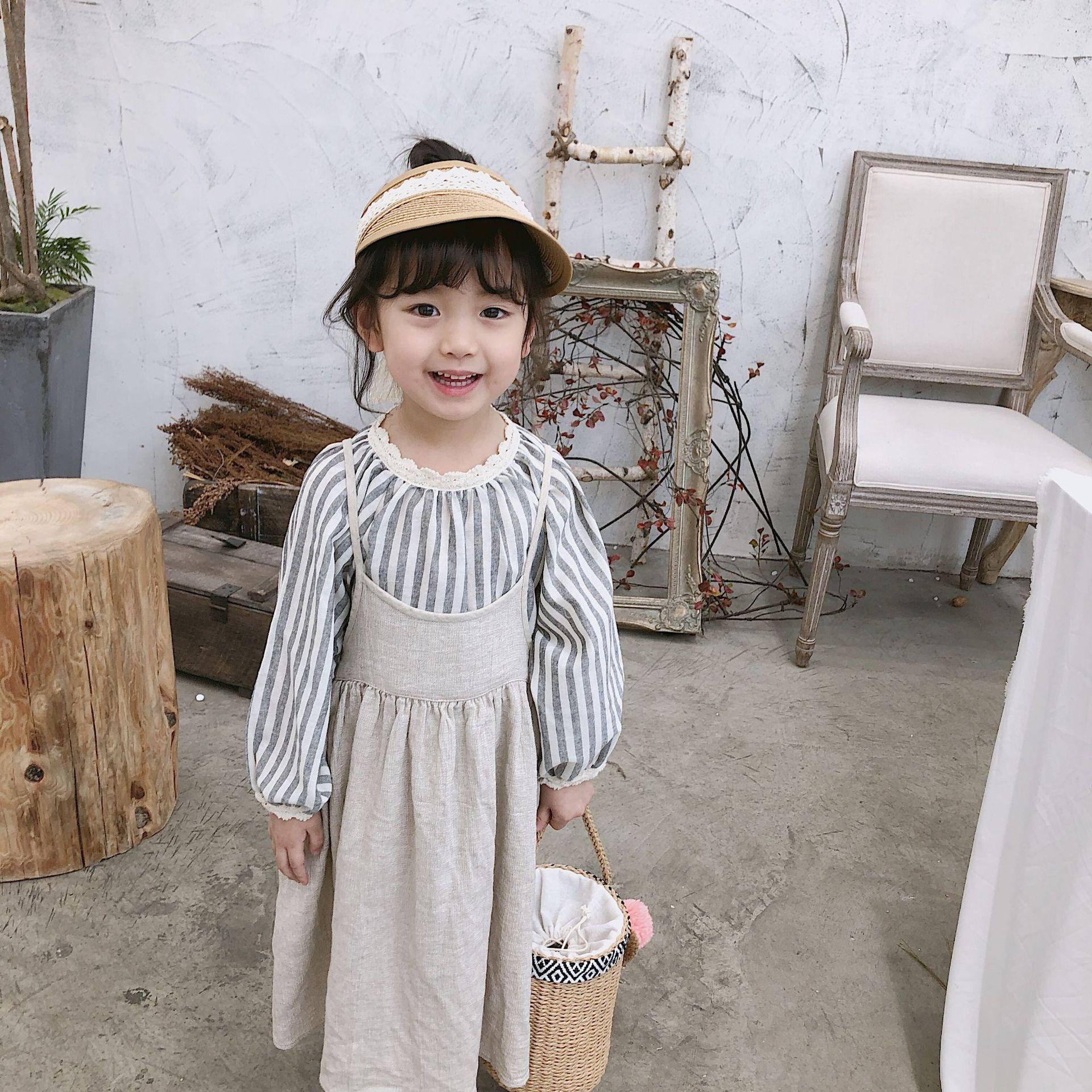 Mädchen Kleidung Verantwortlich Koreanischen Stil Baby Mädchen Einfarbig Baumwolle Leinen Sliping Kleider Frühling 2019 Allgleiches Lange Kleid 1-6y Die Nieren NäHren Und Rheuma Lindern