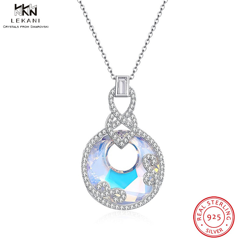 LEKANI Crystals From Swarovski Necklace 925 Crystal Round Pendant Charm Flower Rhinestone Fashion Women Long Necklace 2 colors