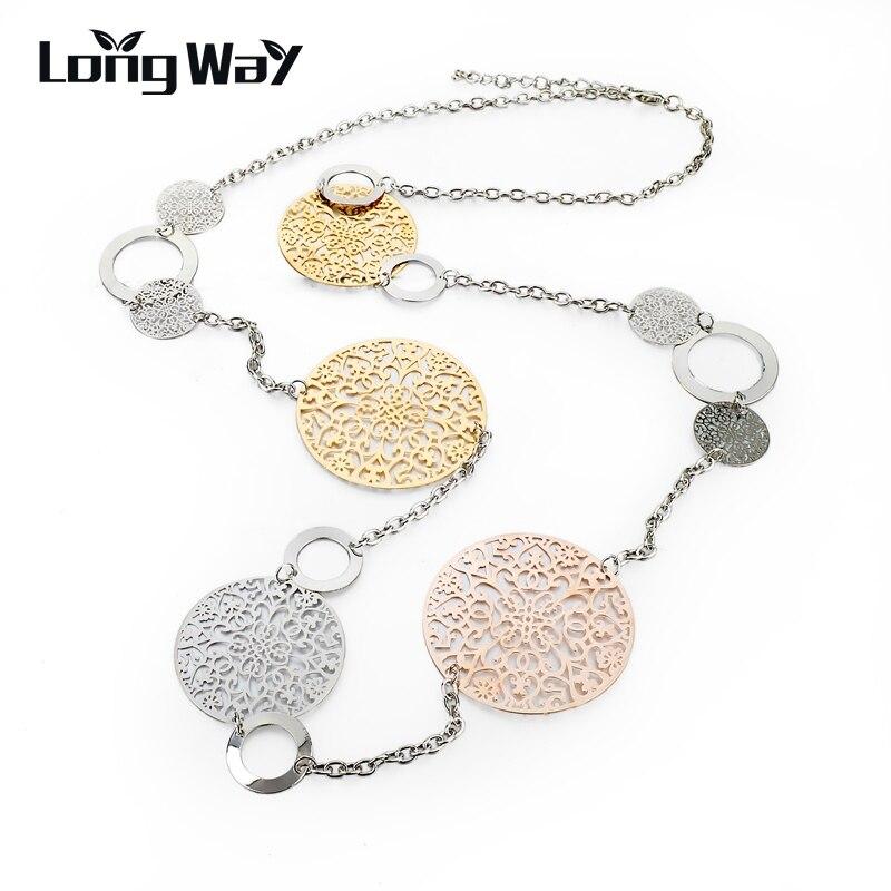 LongWay Vintage Long Statement Necklace Gold Color Silver Color Round Flower Women Necklaces & Pendants Jewelry 2019 SNE150001